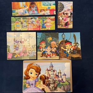 Disney Jr. Set of 7 Wooden Puzzles with Box